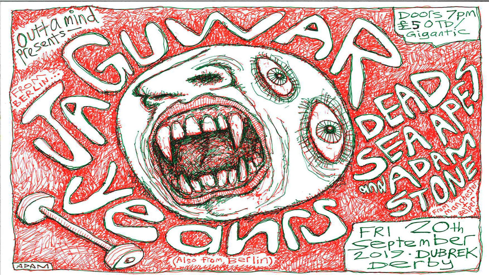 Jaguway + Yeahrs + Adam Stone & Dead Sea Apes - Fri 20th Sept at Dubrek Studios, Derby.